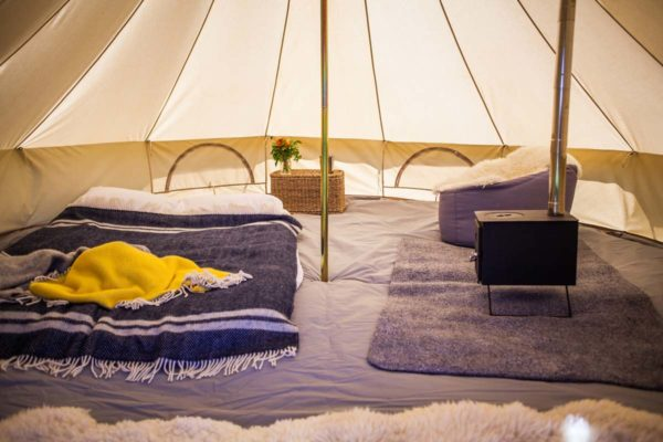 stove inside 4m bell tent