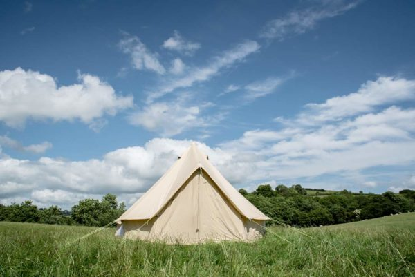4m bell tent with closed doors
