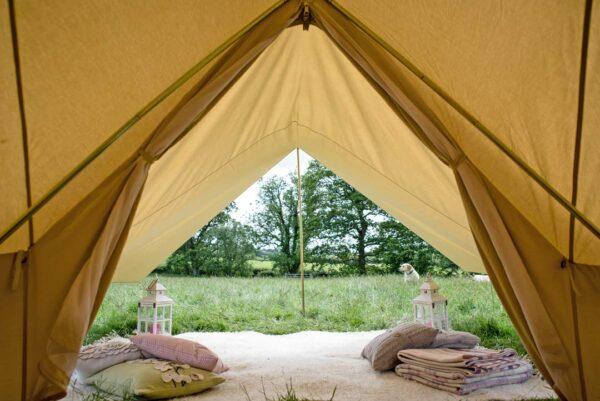 Inside a 4m bell tent