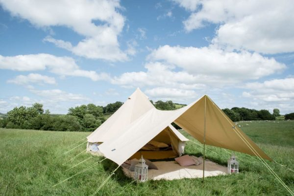 4m bell tent with awning