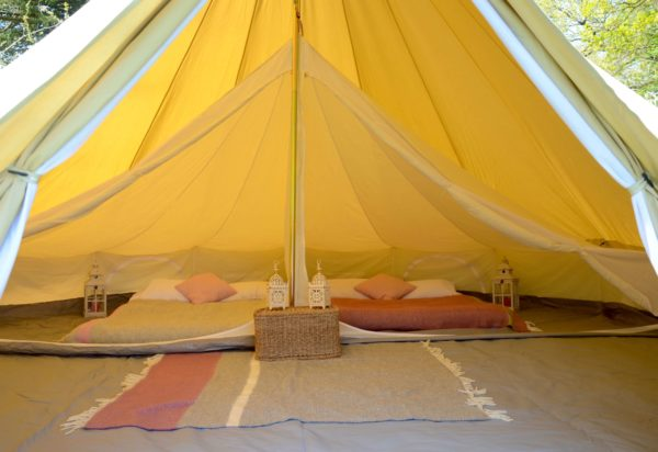 pink blankets in tent