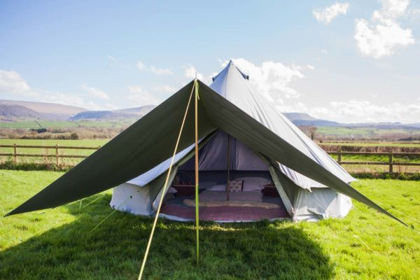 Awning plus on 5m bell tent