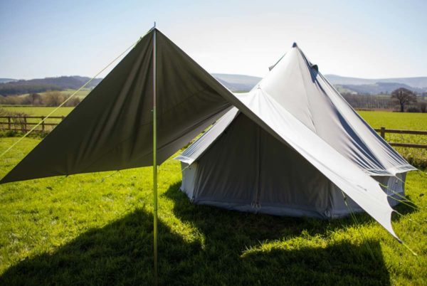 single extendable pole on 4m bell tent
