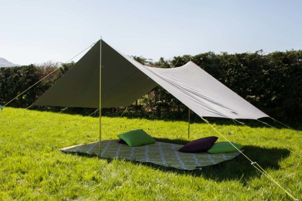 Single extendable pole for awning