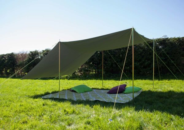 Freestanding awning using double pole set