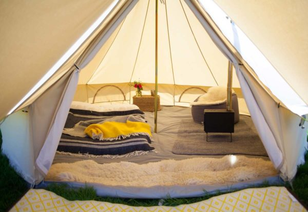 Inside 4m bell tent with stove hole
