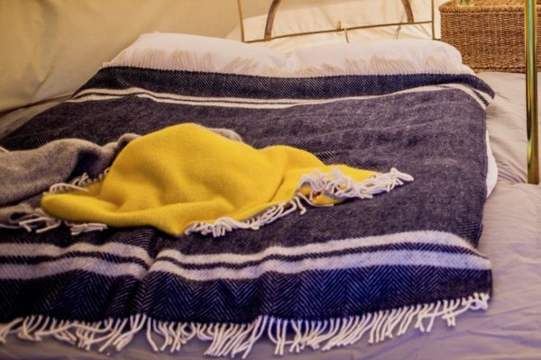 Yellow panel and blue fishbone blanket