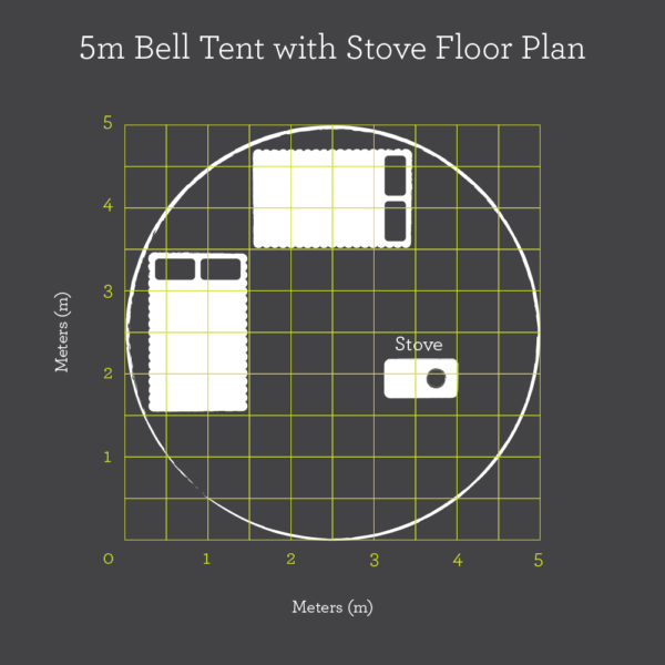 5m Bell tent with stove hole floor plan
