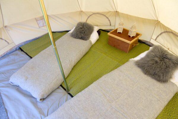 Semi circular bell tent mat