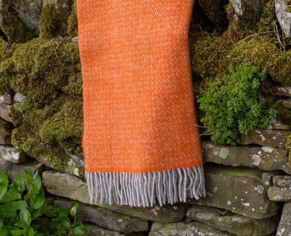 Pumpkin Orange Wool Blanket