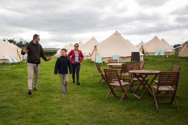 Guests arriving at Glamping Wales Bell Tent Village