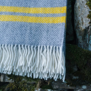 Grey wool blanket with sunshine stripe