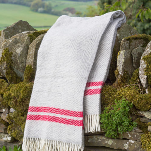 Grey wool blanket with watermelon stripe