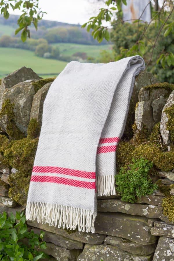 Grey wool blanket with watermelon stripe