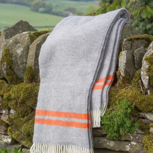 Grey wool blanket with orange stripe
