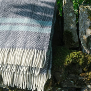 Deep grey and Ocean blue blanket