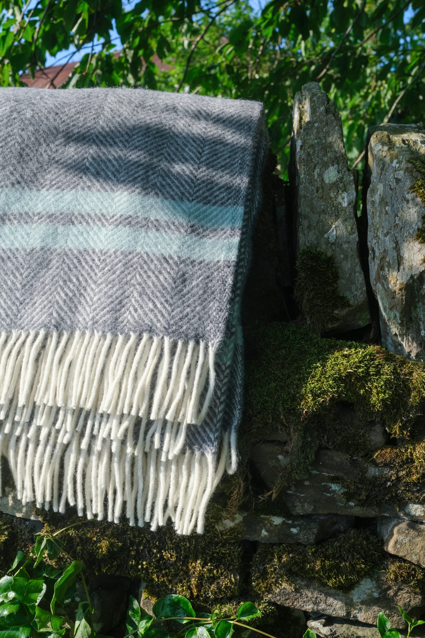 Deep grey and Ocean blue blanket