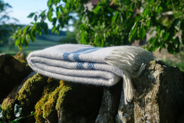 Glacier grey and ink wool blanket